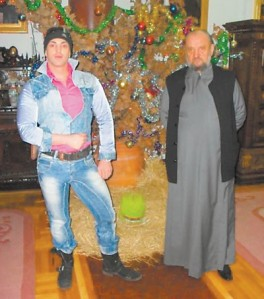 Dejan Nestorovic, stripper, with his good buddy Vasilije, bishop